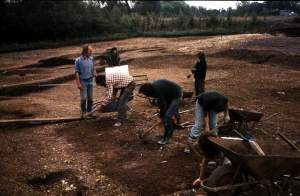 Ken Smith (left) and the 1981 excavation crew.